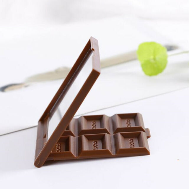 Foldable Cute Mini Makeup Mirror Novelty Chocolate Cookie Shaped Square Pocket