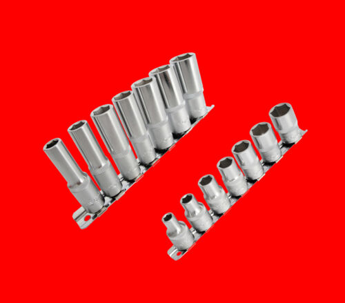 """Lange 1//4/"""" Stecknuss Steckschlüssel 6-KANT Nuss Gr 4mm 14 tlg 10mm YT Kurze"""