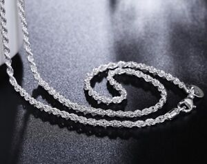 925-Sterling-Silver-Women-039-s-Rope-Chain-24-034-Link-Necklace-Free-Velvet-D157