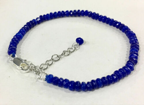 "2018New vente en gros 2x4mm Facette Rondelle Aquamarine Gemstone Bracelet Bangle 7.5/"""
