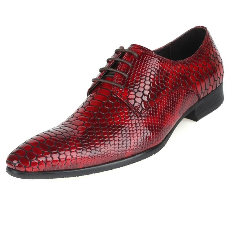 New Men's Real Leather Dress Formal shoes Crocodile Embossed Lace up W1818