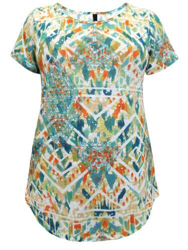 Ex Ivans Abstract Geometric Print Modal Cotton Jersey Tunic Size 22-36