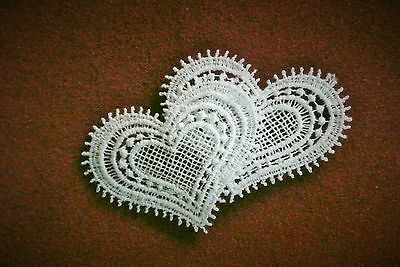 Lace motif - Wedding/Valentine 2 Hearts - applique/sew on trim/craft/card making