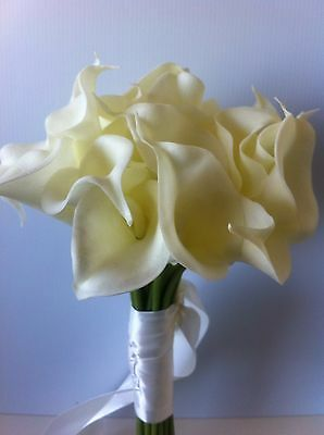 Artifical FLOWERS BOUQUETS 'Real Touch' CALLA LILY WEDDING BOUQUET POSY 27 STEMS