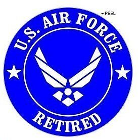 "Retired US Air Force Window Bumper Locker Sticker 5/"" Airforce Wings USAF"