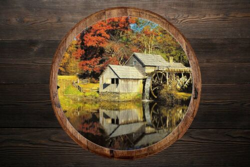 Details about  /Whiskey Barrel Head Old Mill Water Wheel Country Rustic Home Décor Wall Art