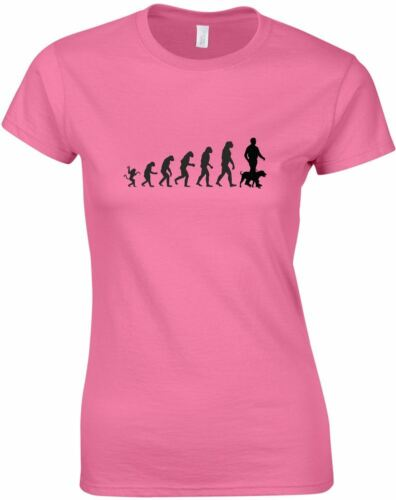 The evolution of dog walking Ladies Printed T-Shirt