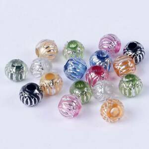 100pcs-10mm-Mixed-Colours-Plastic-Silver-Strips-Loose-Craft-Beads-lot-Wholesale