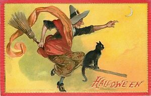 Raphael-Tuck-Flying-Witch-on-Broomstick-Halloween-Prints-or-Window-Door-Decals