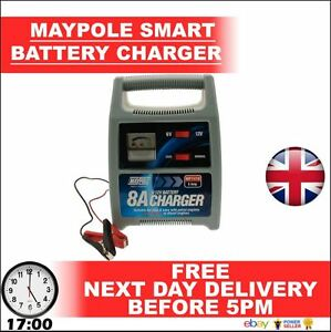 12V-8A-MAYPOLE-Leisure-Car-Battery-Automatic-Smart-Charger-8-Amp-BRANDED