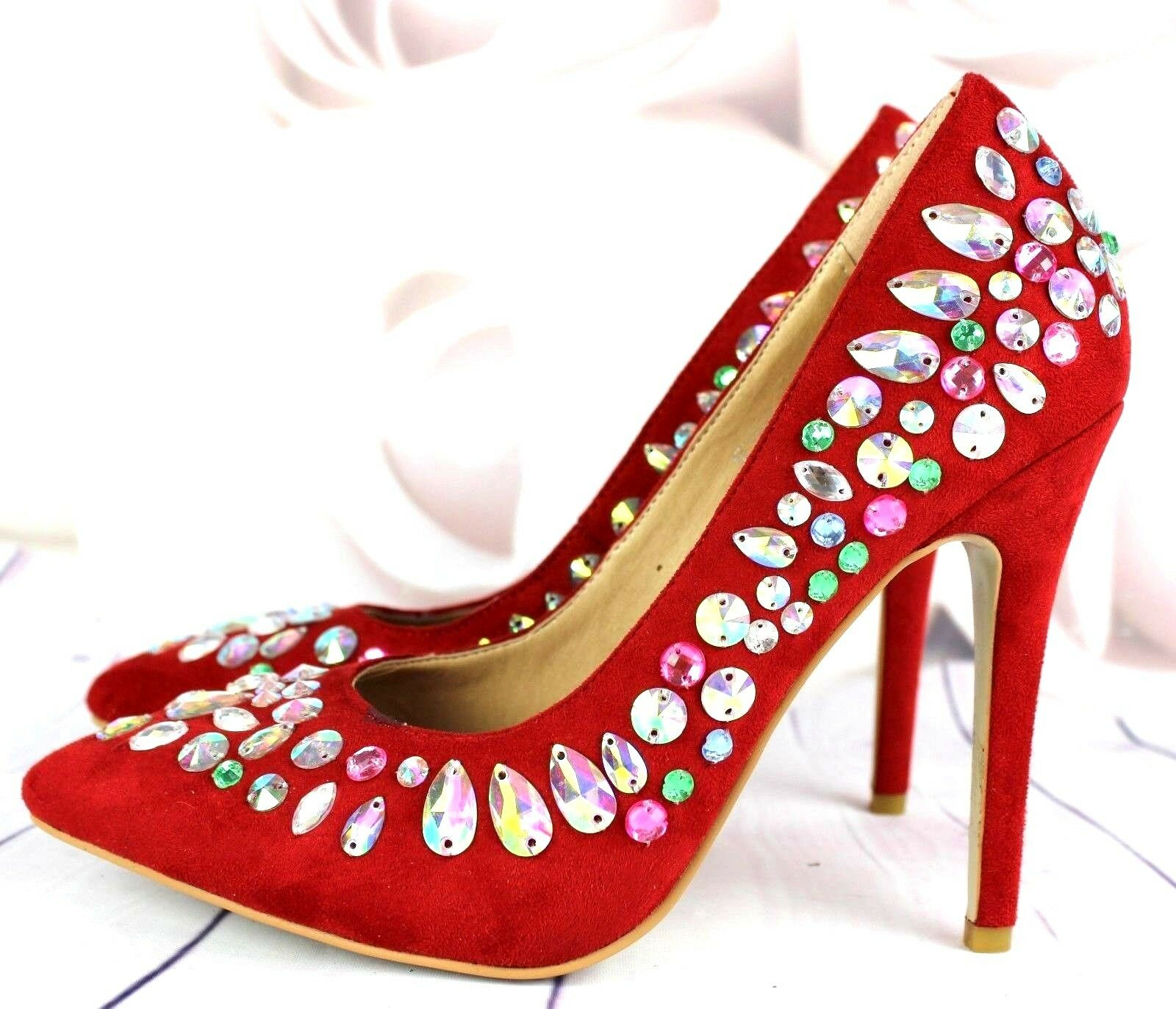 New Womens Red Jewel Pointed Toe Stiletto High Heel 4 Court Shoes Size 3 4 Heel 5 f751d8