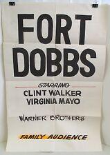VINTAGE ORIGINAL 1958 FORT DOBBS CLINT WALKER & VIRGINIA MAYO MOVIE PROMO POSTER