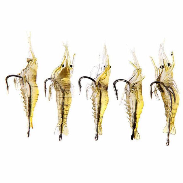 New 5 Pcs Lures Bait Shrimp Fishing Simulation Prawn Saltwater Hooks Fish