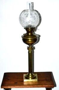 Victorian Hinks Corinthian Column Etched Glass Shade Oil Lamp Pl2819 Ebay
