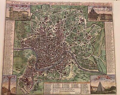 Cartina Antica Roma.Antica Mappa Di Roma Poster Stampa Su Tela Ebay