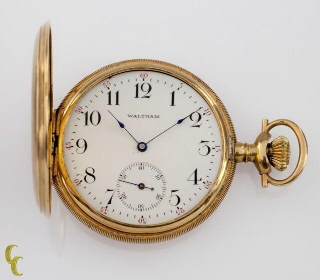 4ff1a1c93cbb3 Waltham Full Hunter 14k Yellow Gold Pocket Watch 15 JEWEL Size 12 Gr 220  1901