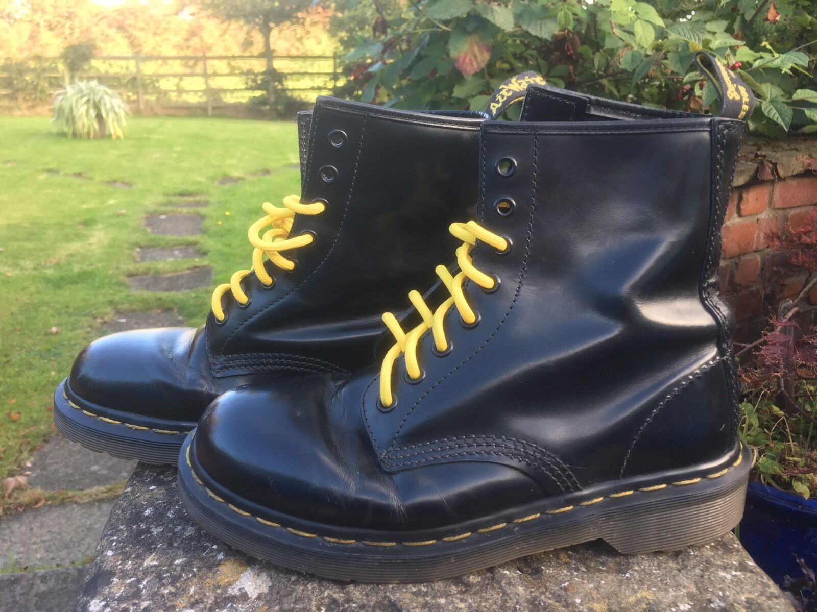 VINTAGE Martens 1460 Nero Dr Stivali in Pelle EU 39 Made in England