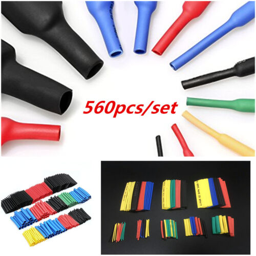 560Pcs Heat Shrink Tubing Wire Sleeving Tube Sleeve Wrap Kit Car Wire Cable 2:1