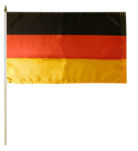 """3 Pack Germany Country Plain 100D 12/""""x18/"""" Stick Flag 30/"""" Wood Staff"""