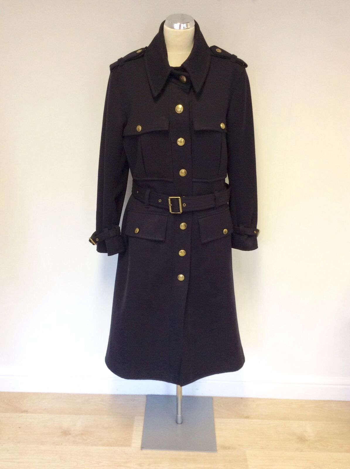 MULBERRY DARK blueE MILITARY STYLE BELTED COAT SIZE 10