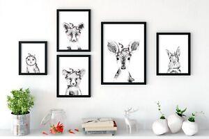 Woodland-Animal-Babies-Nursery-Prints-Wall-Art-Peekaboo-Animals-Bow-in-Hair