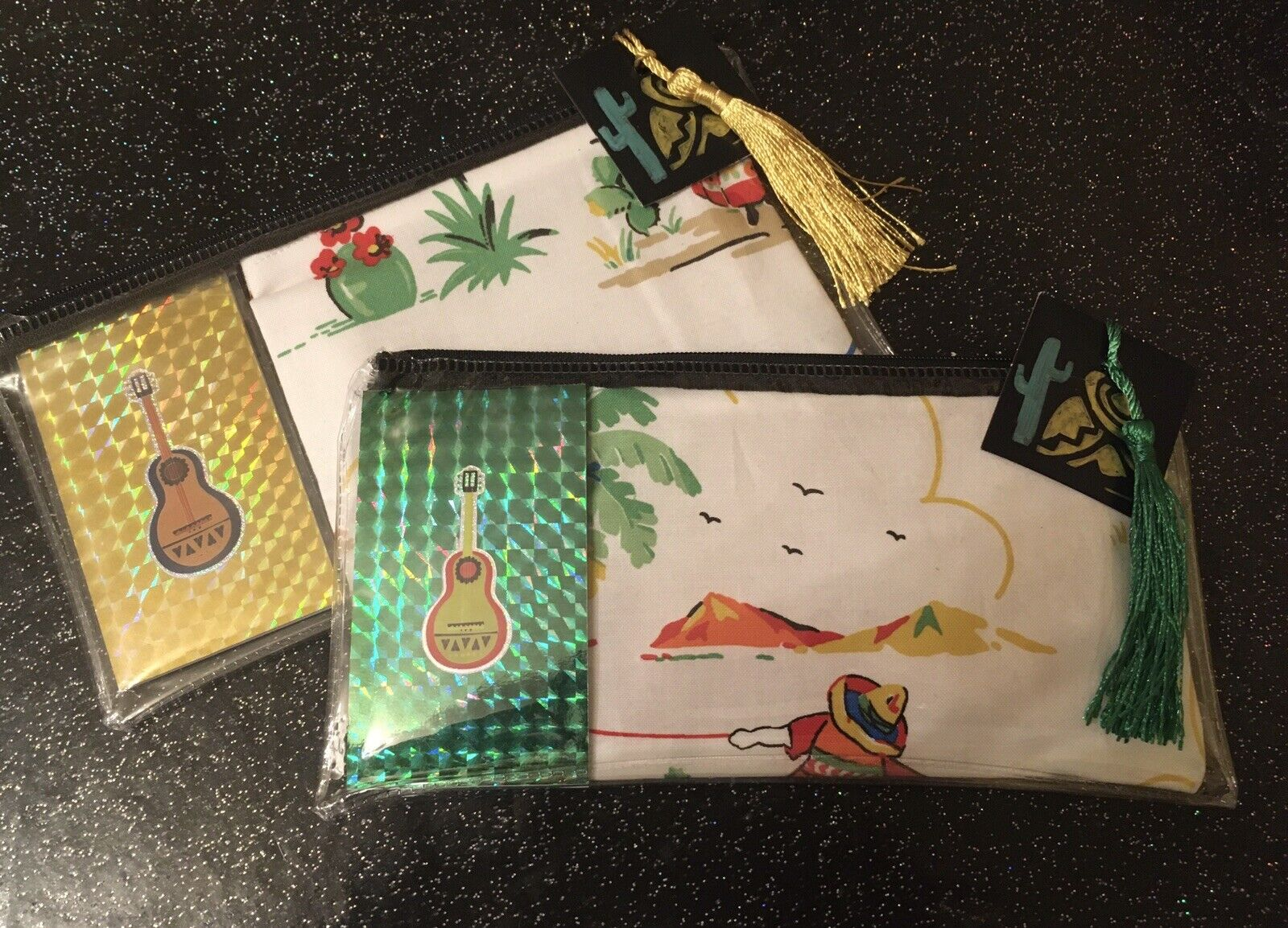 Retro Mexican Scene Guitar Cactus Notebook +Cosmetic Bag In Pouch 3pc Gift Set
