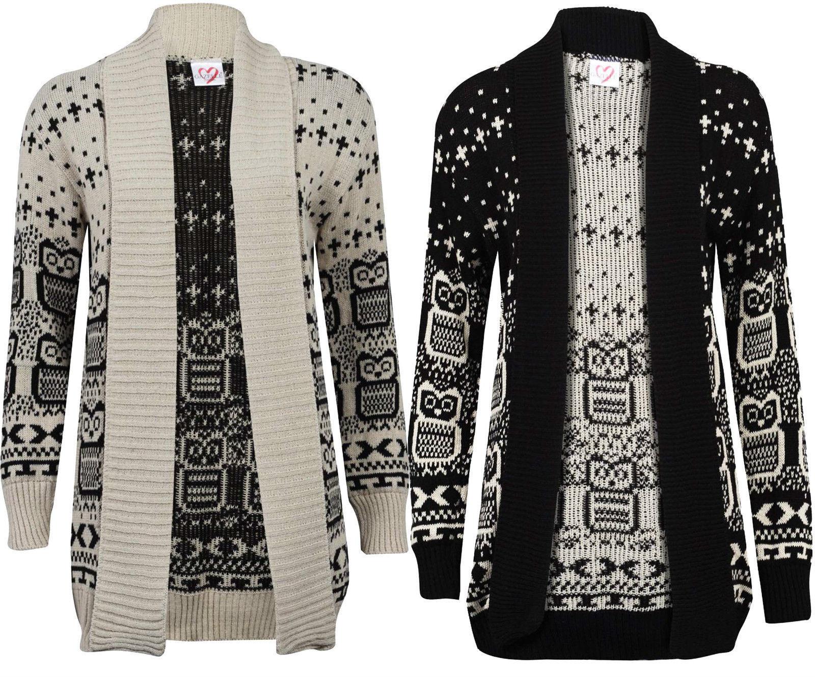 women Búho Estampado Suéter Suéter Suéter De Manga Larga Tejido Cárdigan Abierto a63575
