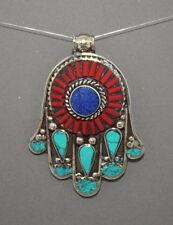 Turquoise pendant Lapis Pendant Hamsa Pendant Tibet Pendant Silver Pendant Yoga