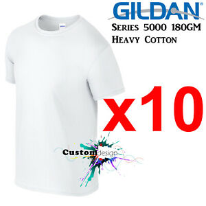 10-Packs-Gildan-White-T-SHIRT-Basic-Tee-S-5XL-Men-Heavy-Cotton