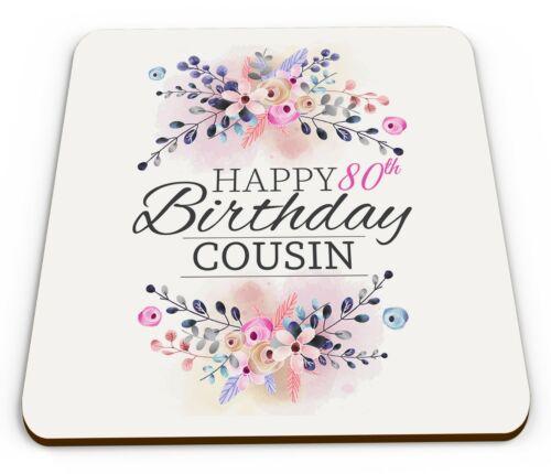 Floral Joyeux 80th Anniversaire Nouveauté Brillant Tasse Coaster-Femelle divers