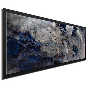 Blue Unique Artwork Painting Contemporary Abstract Metal Wall Art Decor 38x12in