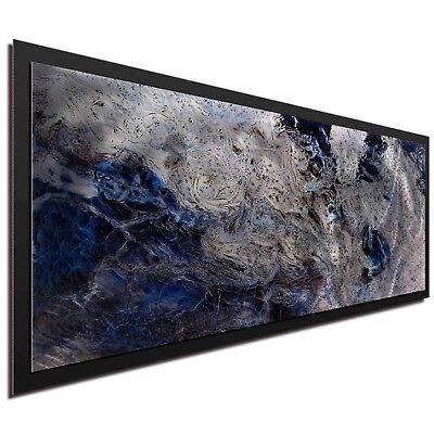 Blue Black Masculine Minimalist Art Abstract Metal Decor Modern Wall Artwork