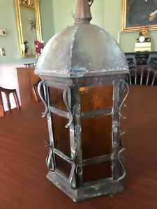 Antique-Arts-and-Crafts-Mission-Hanging-Copper-Light-Fixture-Porch-or-entry