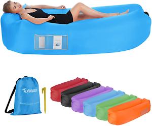EDEUOEY Inflatable Lounger Air Sofa: Waterproof Beach Travel Outdoor Recliner Gi