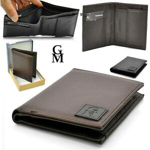 Gyoiamea portafoglio uomo vera pelle slim portamonete porta carte marrone nero