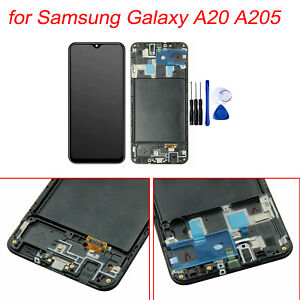 Lcd Display Touch Screen Digitizer Frame Replacement For Samsung Galaxy A20 A205 Ebay