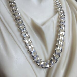 Mens-Curb-Cuban-Link-Chain-Necklace-925-Sterling-Silver-Handmade-7mm-24Inch-51gr