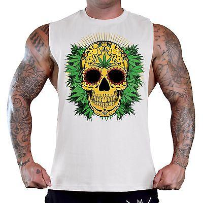 New Men/'s 420 Sugars Skull Weed Leaf Sleeveless Vest Hoodie Blunt Kush Marijuana