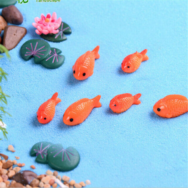4x Fish lotus Leaves Miniature For Fairy Gardens Gnomes Moss Terrariums Decor US