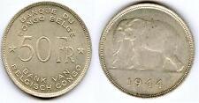 TRES RARE MONNAIE DE 50 FRANCS EN ARGENT DU CONGO BELGE DE 1944 @ BELLE QUALITE
