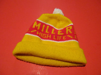 CLEAN VINTAGE MILLER HIGH LIFE BEER WINTER HAT COLLECTIBLE ADVERTISING ba1b57aaace