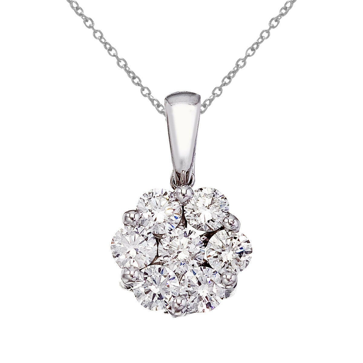 14K White gold 1 Ct Cluster Diamond Pendant with 18  Chain