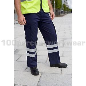 Grosses Soldes Warrior Haute Visibilité Cargo Travail Pantalon Pantalon Hi Vis Viz Genou Pad Poches-afficher Le Titre D'origine