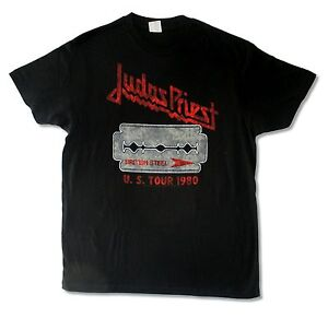 Judas-Priest-British-Steel-US-Tour-1980-Mens-Black-T-Shirt-New-Official-Band