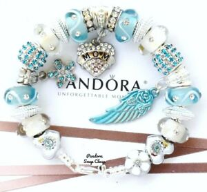 db5501e9d Image is loading Authentic-Pandora-Silver-Bracelet-Blue-MOM-Angel-Wing-