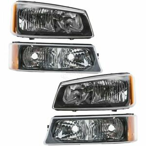 Headlights Lamps Parking Light Kit Left Right Set for Chevy Silverado Avalanche 192659116994