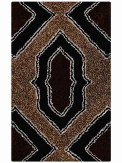 Hand Tufted Soft Plush Geometric Brown Black Modern 5x8 Shaggy Oriental Area Rug For Sale Online