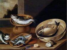 PAINTING STILL LIFE BEERT DISHES OYSTERS WINE POSTER ART PRINT BB12226B