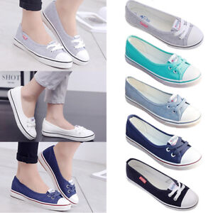 8dd1719d0ad New Women s Ladies Canvas Shoes Pumps Slip On Summer Size Flat Lace ...