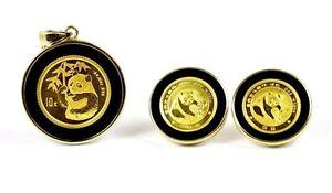 China-1-10-1-20-oz-999-Gold-Panda-Coins-in-14k-Onyx-Bezel-Pendant-Earrings-Set